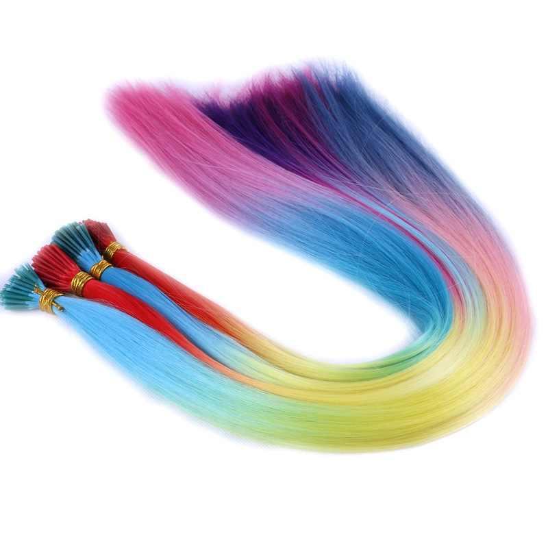 Pragnienie włosów 300 nici 22 cali długości 1g żaroodporne ombre różowy brązowy syntetyczny I końcówka mikro pierścień przedłużanie włosów na imprezę