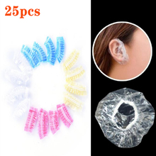 25Pcs Thickened Disposable Plastic Waterproof Ear Protector Cover Caps Salon Hairdressing Dye Shields Earmuffs Shower Tool