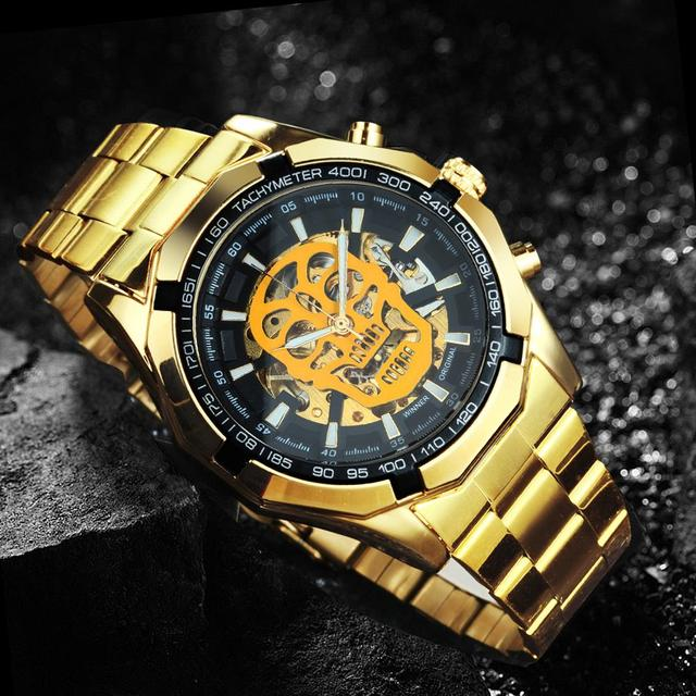 WINNER Official Automatic GOLD Watch Men Steel Strap Skeleton Mechanical Skull Watches Top Brand Luxury Dropshipping Wholesale 2
