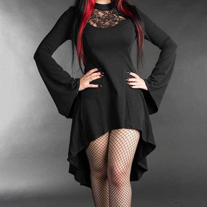 Готическое Платье женское черное кружевное лоскутное длинный рукав, асимметричный полый средней длины тонкий вечерние платья 2019 весна осень женский XL
