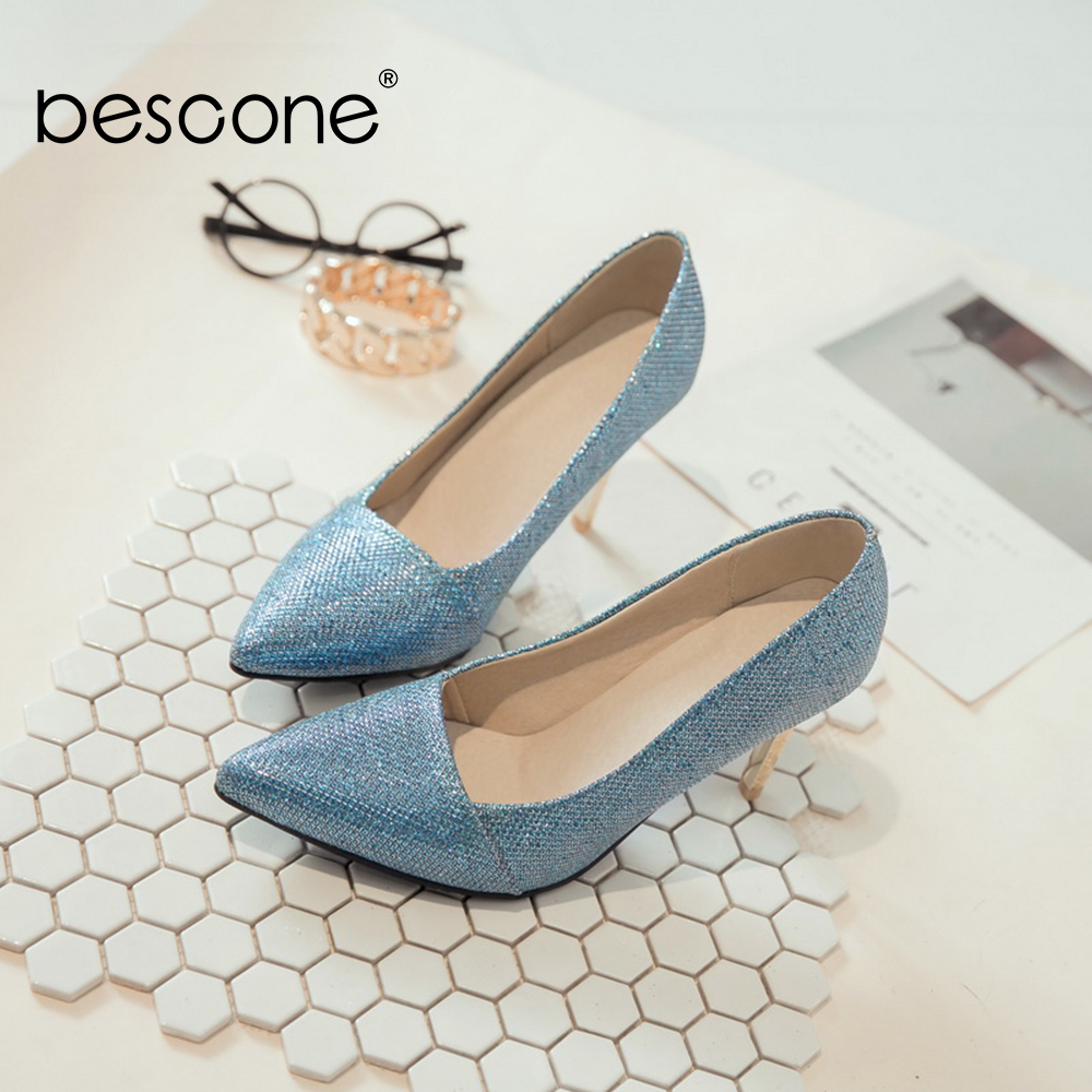 Image 2 - BESCONE Elegant Ladies Pumps Sexy Pointed Toe Office Shallow Thin Heel Shoes Handmade Slip On Super High Heel Women Pumps BM92Womens Pumps   -