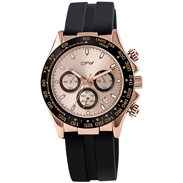 Champagne Rose Gold Men Watches Stopwatch Silicone Rubber Strap Chronograph Quartz Watch Luxury Watch Relogio Masculino Gift