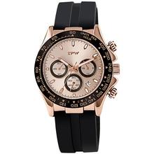 Champagne rosa dorado cronómetro para hombre, correa de goma de silicona, cronógrafo reloj de cuarzo, lujoso, Masculino