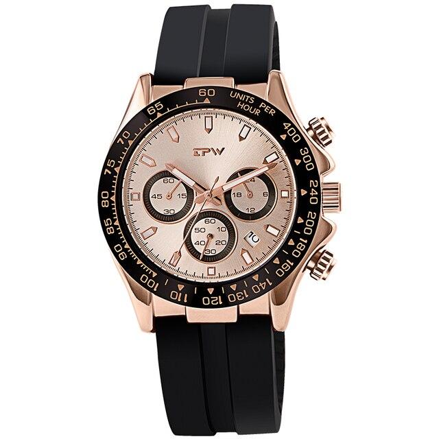 샴페인 로즈 골드 남성 시계 스톱워치 실리콘 고무 스트랩 크로노 그래프 쿼츠 시계 럭셔리 시계 Relogio Masculino 선물