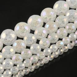 AB Color White Snow Cracked Crystal Beads 4/6/8/10mm Faceted Loose Quartz Beads for Jewelry Making DIY Bracelets 15inch