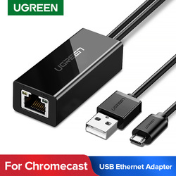 Ugreen ethernet adaptörü Chromecast için USB 2.0 RJ45 Google Chromecast 2 1 Ultra ses TV çubuk mini PC mikro USB ağ kartı