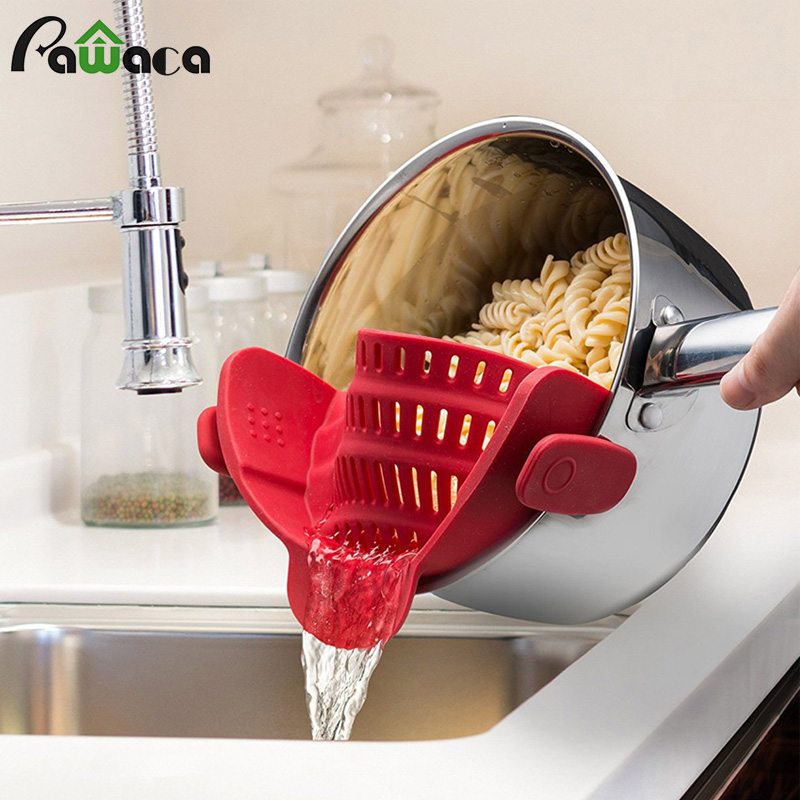 Clip On Silicone Colander Pot Pan Bowl Funnel Strainer Drainer Kitchen Rice Washing Colander Kitchen Accessories Cooking Tools|Colanders & Strainers|   - AliExpress