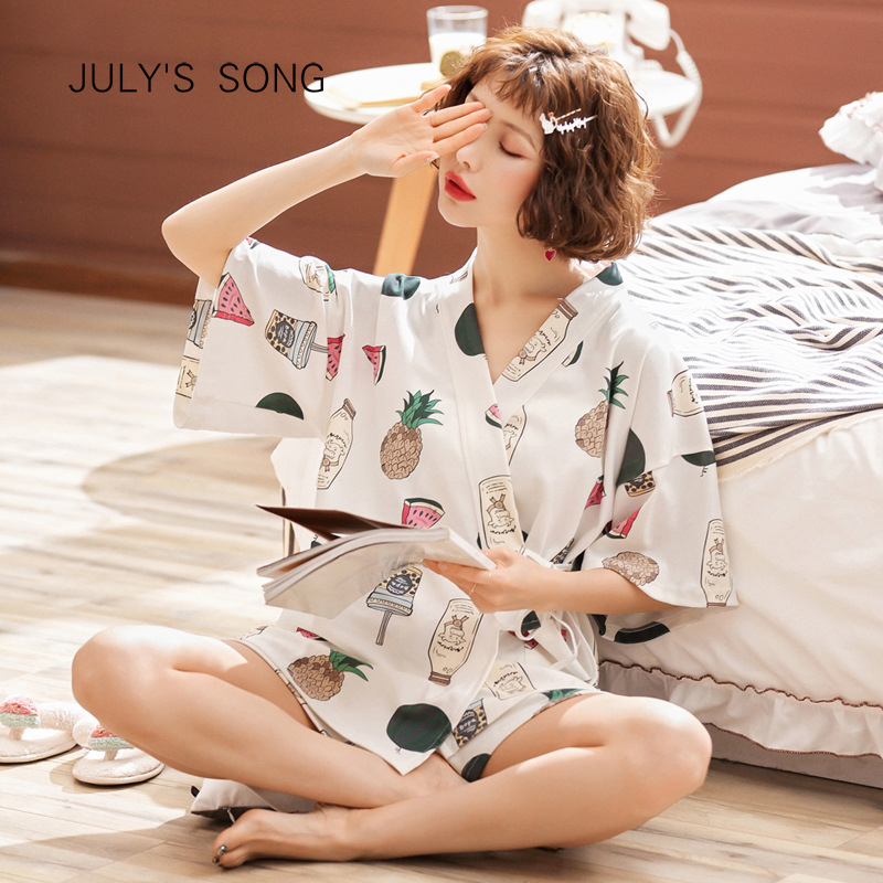 JULY'S SONG Cotton Women's Pajamas Set 2 Pieces Short Sleeves Sleepwear Printed Pajamas Suit Shorts For Female