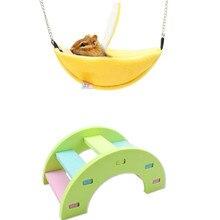 Hamster algodão ninho banana forma casa hammock arco-íris ponte brinquedos para hamster pequeno animal de estimação suprimentos