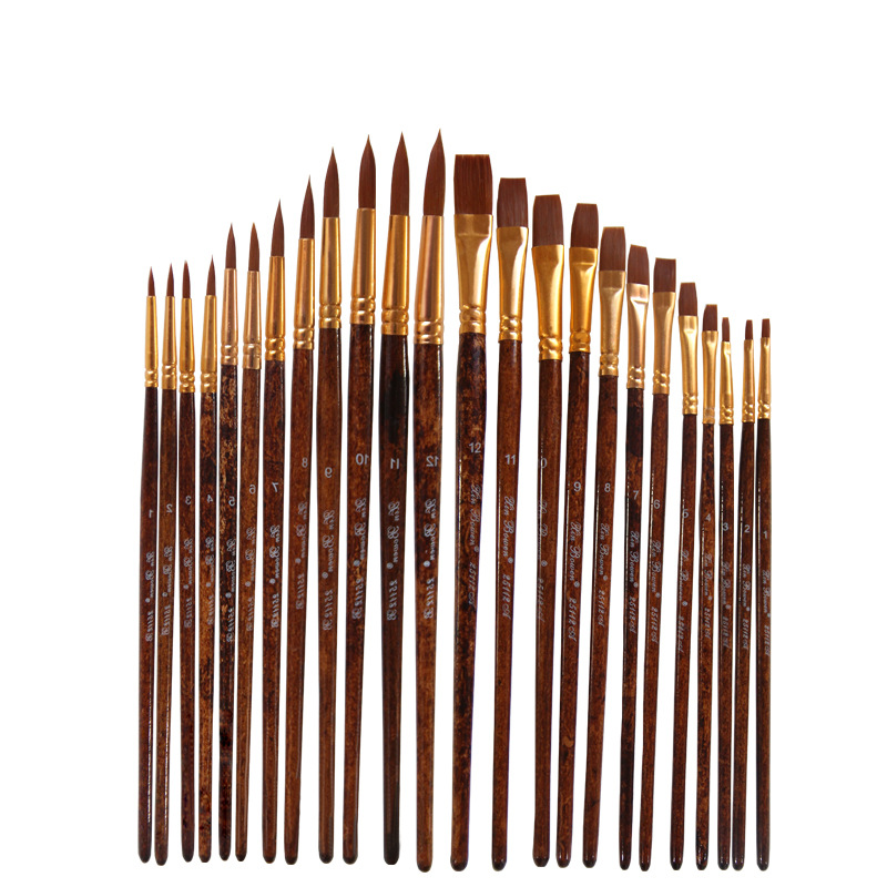 12 Pcs/set Nylon Hair Watercolor Paint Brushes Different Shape Round Plain Tip Gouache Painting Brush Set Art Supplies