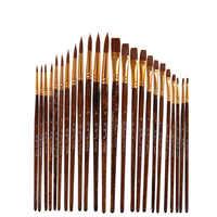 12 unids/set acuarela pelo nailon pinceles de pintura de diferentes formas redondo liso punta Guache pincel juego suministros arte
