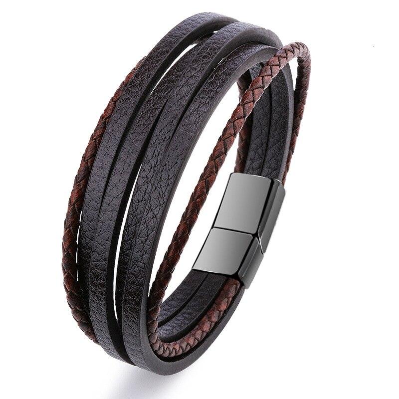 Мужской браслет, многослойный кожаный браслет с магнитной застежкой, Воловья кожа, плетеный многослойный браслет, модный браслет на руку, pulsera hombre - Окраска металла: 7