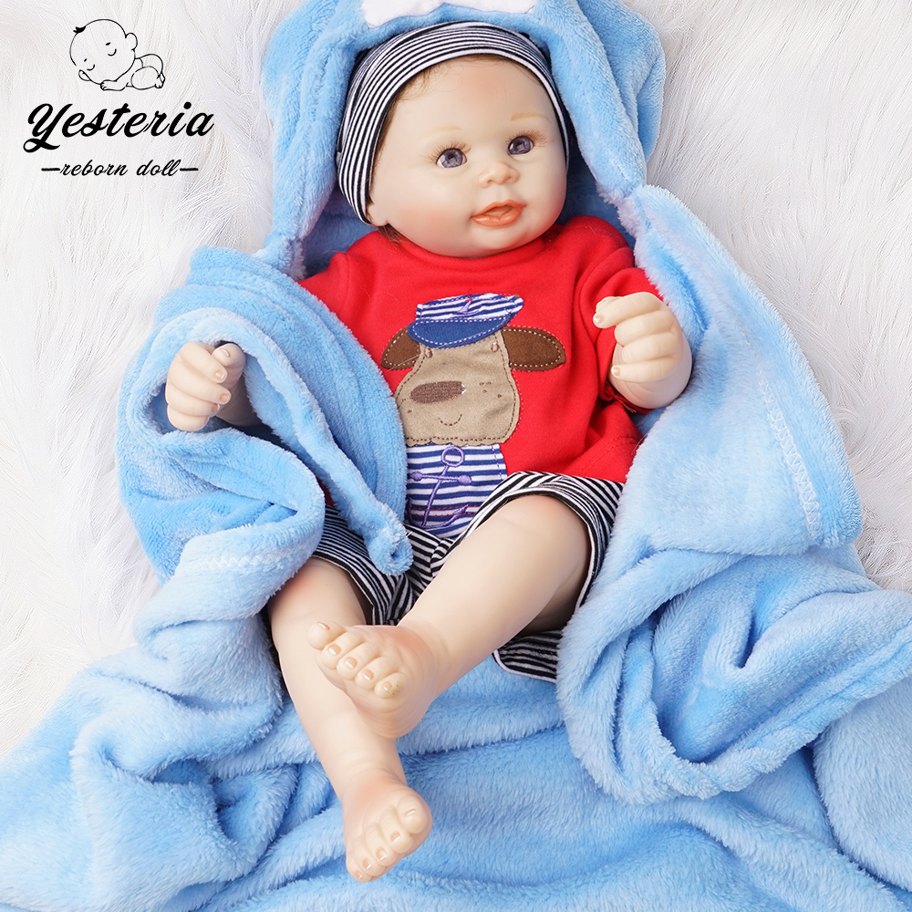 50cm Full Silicone Vinyl Bebe Reborn Baby Doll Boy Newborn Lifelike Toy Gift Red Outfit With Blue Blanket