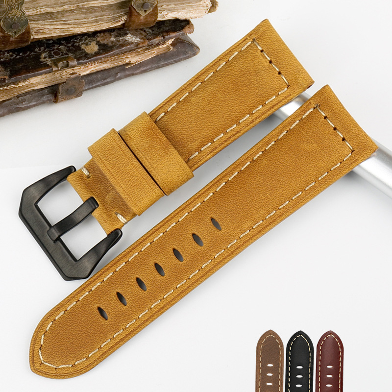 Watch Band Leather Strap Watch Strap with Genuine Leather Strap Bracelet for Panerai PAM111 441 359 Series 22 24 26mm Wrist Band(China)