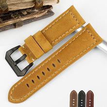 Bracelet de montre en cuir véritable, pour Panerai PAM111 441 359 série 22 24 26mm
