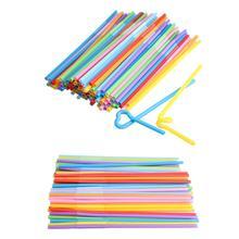 Лидер продаж 100 шт гибкие пластиковые мягкие разноцветные вечерние одноразовые соломинки для напитков, гибкие многоцветные