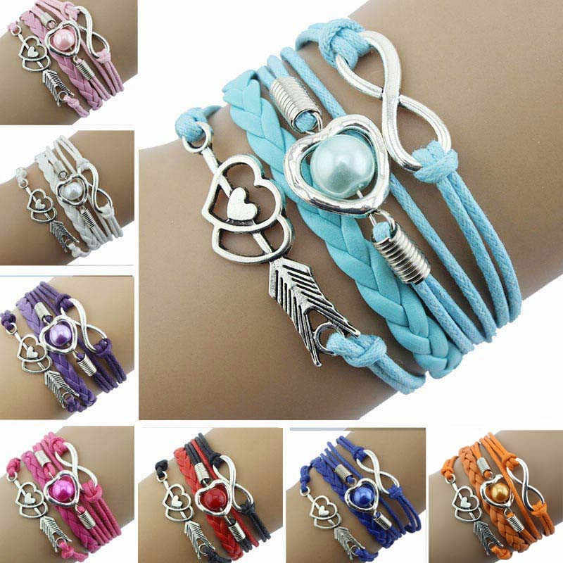 1PC Infinity Love Heart Pearl Friendship Antique Leather Charm Bracelet For Women Pendant Jewelry Accessories Gift бижутерия