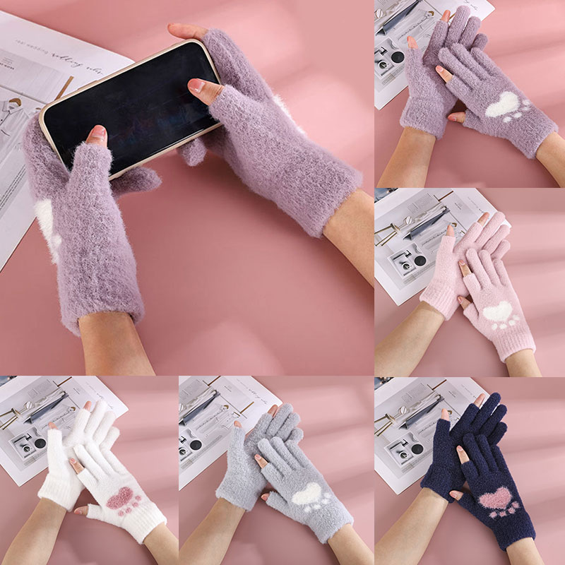 Cartoon Bear Paw Print Gloves Winter Warm Breathable Warm Gloves 1 Pair Stylish Cold-Proof Touch Screen Knitting Gloves