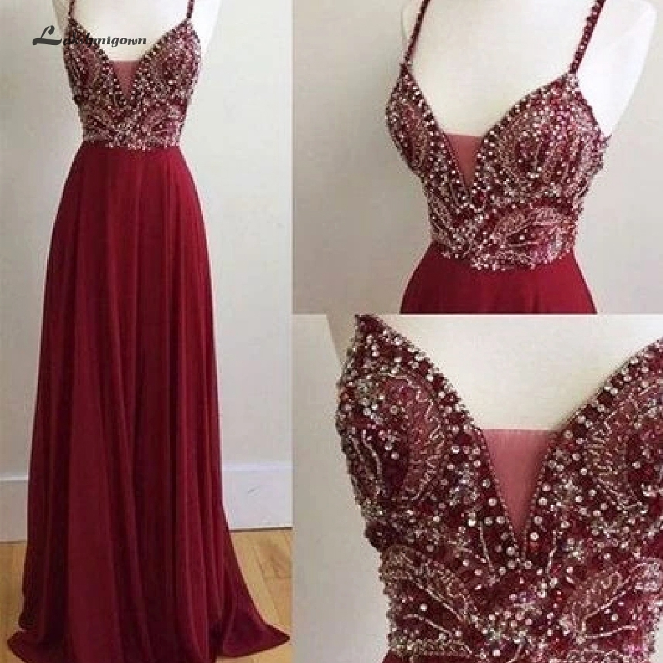 Pretty Girls Graduation Dress Party Evening Gown Burgundy Long Prom Dress Crystal Beading Formal Dresses 2020 Abendkleider