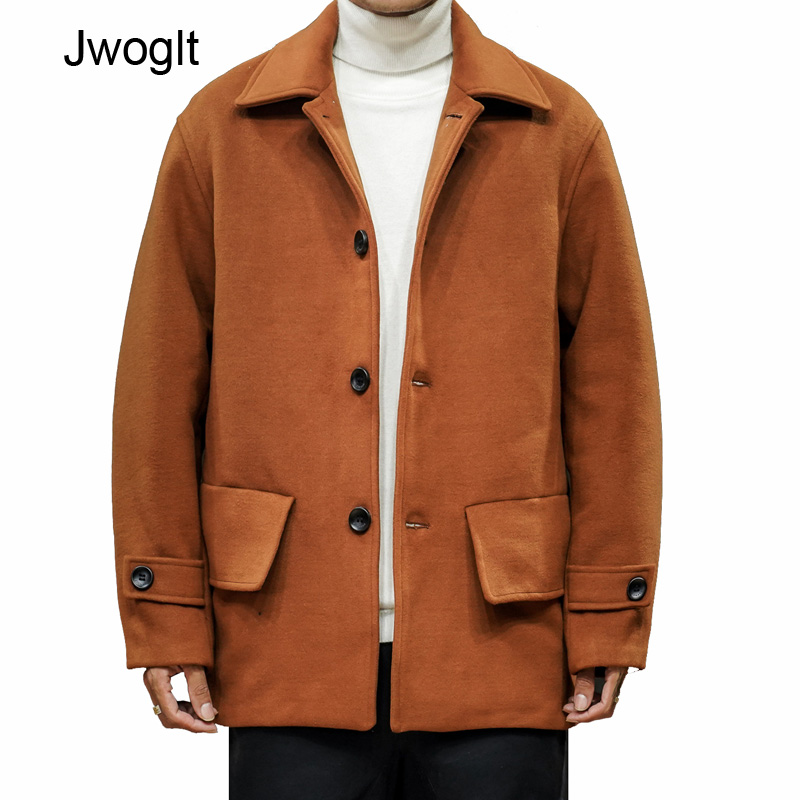 Spring Autumn New Korean Fashion Wool Coat Men Black Brown Overcoats Topcoat Mens Single Breasted Coats And Jackets 4xl 5xl