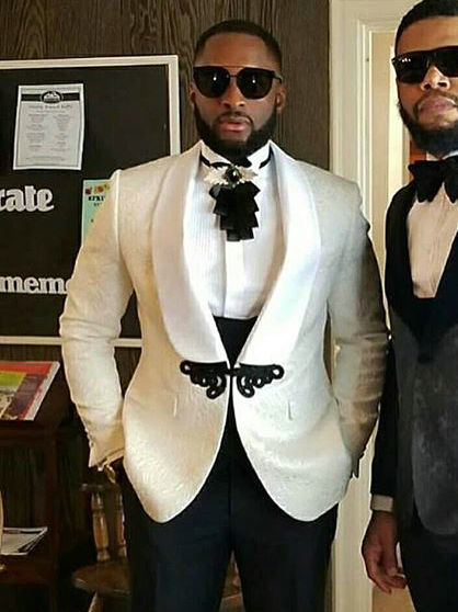 Terno 3 Pieces Men Suits For Wedding 2019 Custom Made Classic White Blazer Business Prom Suits Groomsmen Groom Mens Tuxedo
