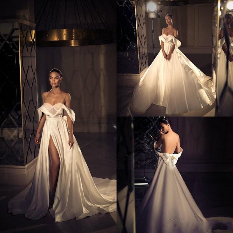 Elihav Sasson Modest A Line Satin Wedding Dresses  Off Shoulder Side Split Sexy Bridal Gowns Sweep Train Vestidos De Novia