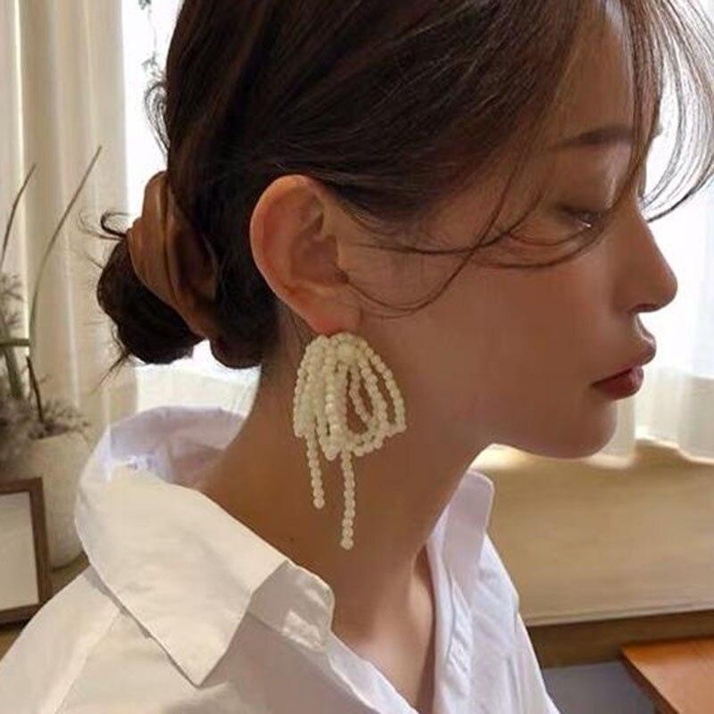 Корейские Многослойные жемчужные серьги с кисточками для женщин и девушек, Роскошные Жемчужные длинные серьги-цепочки, ювелирные изделия
