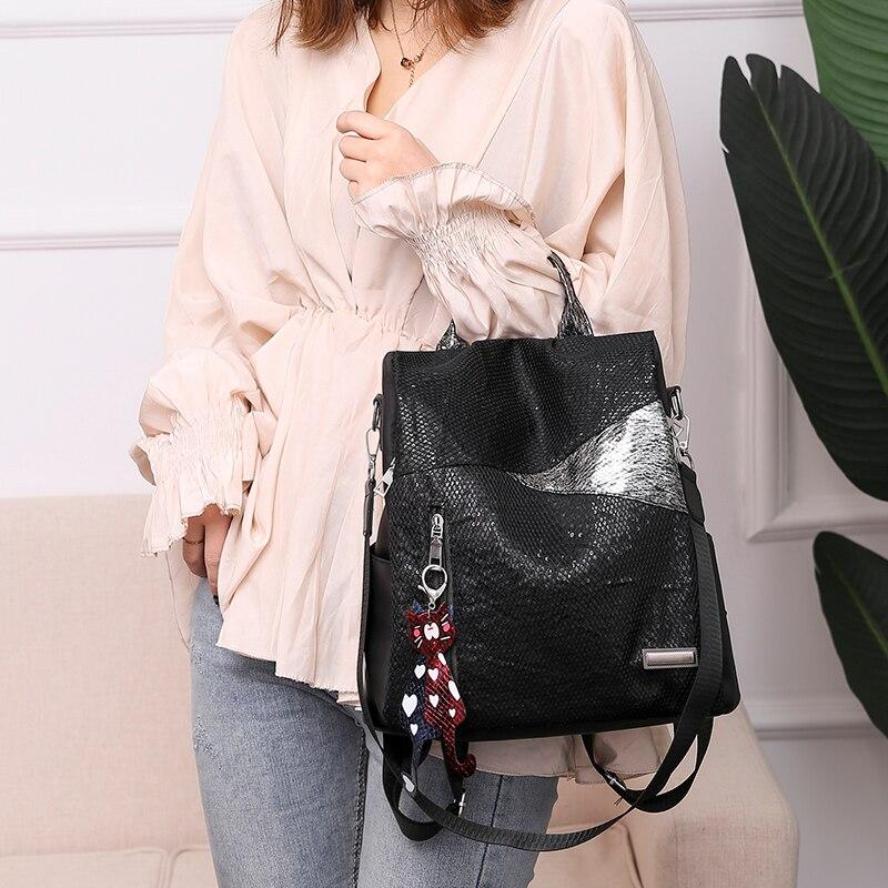 H911a43bb3fb745258f7f8b57fbe69b4bf Simple style ladies backpack anti-theft Oxford cloth tarpaulin stitching sequins juvenile college bag purse Bagpack Mochila