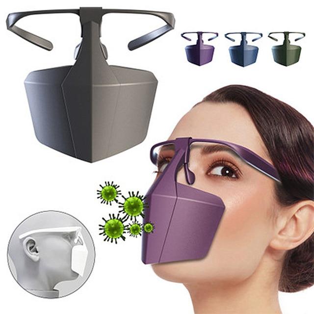 Food Grade PE Mouth Safe Masks Shield Anti Spitting Saliva Screen Protective Face Shield Respirator Half Face Mouth Mask Safer