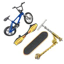 Children Boys Toy Miniature Finger Bicycle Skateboard Vitality Board Scooter Set