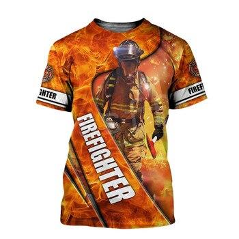 Tessffel Firefighters Suit Firemen Causal Streetwear Hero Harajuku Unisex Hoodie 3DPrint Funny Summer Short Sleeves T-shirts A-2 2