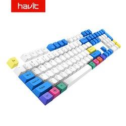 Havit-Teclado mecánico PBT para videojuegos, juego de teclas para DIY Cherry MX, blanco, azul y amarillo, 87, 104 teclas