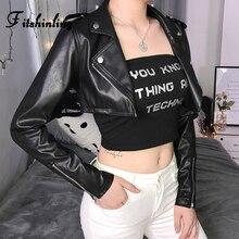 Fitshinling Faux Leather PU Jacket Female Coat 2019 Autumn Winter Slim Women Jackets Outerwear Moto Biker Solid Black Coats Sale