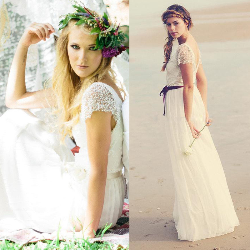 Summer Style Actual Lmages Lace Long Wedding Dress 2015 A-line Short Sleeve Beading Bridal Gowns Vestidos De Noiva Casamento