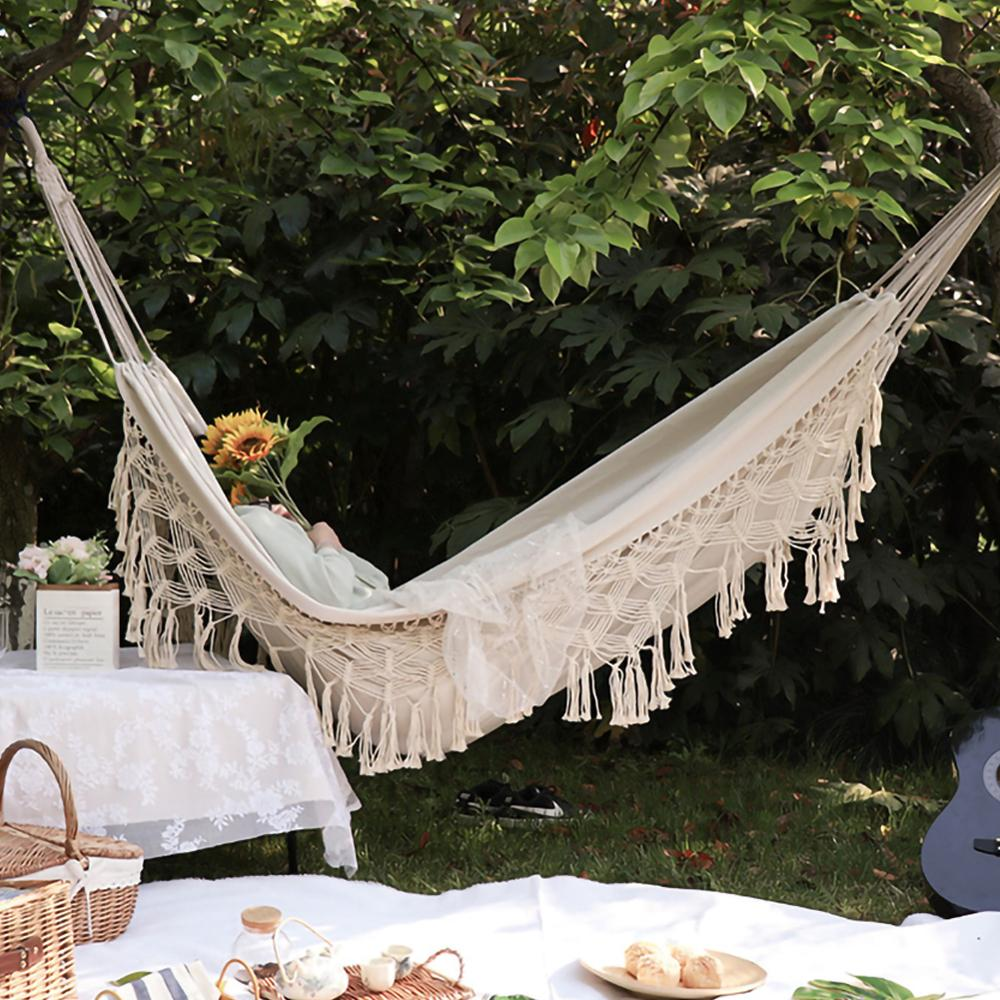 ins Style 2 Person Hammock Large Brazilian Macrame Fringe Double Deluxe Hammock Swing Net Chair Outdoor Indoor Hanging Deco 1