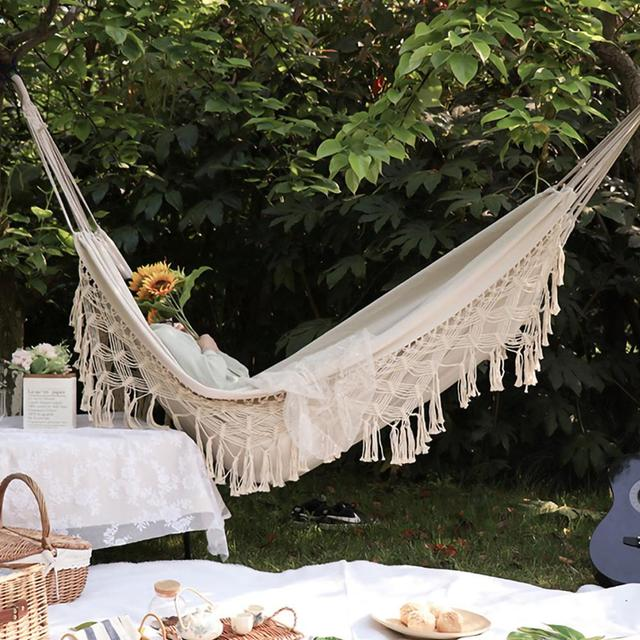 ins Style 2 Person Hammock Large Brazilian Macrame Fringe Double Deluxe Hammock Swing Net Chair Outdoor Indoor Hanging Deco 1