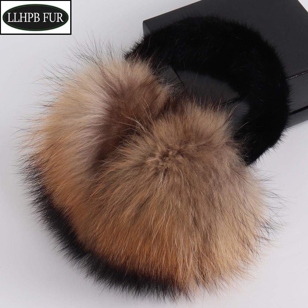 Hot Sale 100% Natural Real Fox Fur Earmuffs Winter Women Warm Plush Big Fox Fur Ear Muff Russia Soft With Real Mink Fur Earflaps