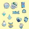 Эмалированная брошка в форме волны в форме сердца русалки серии океана, рюкзак, джинсовая рубашка, отворот, булавки, морская бижутерия, аксе...