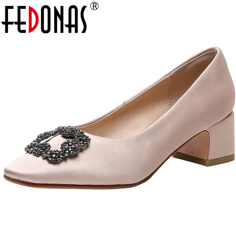 FEDONAS Rhinestone Glitters Women Pumps Top Quality Thick Heeled Cow Genuine Leather Shoeselegant Round Toe 2020 Shoes Woman