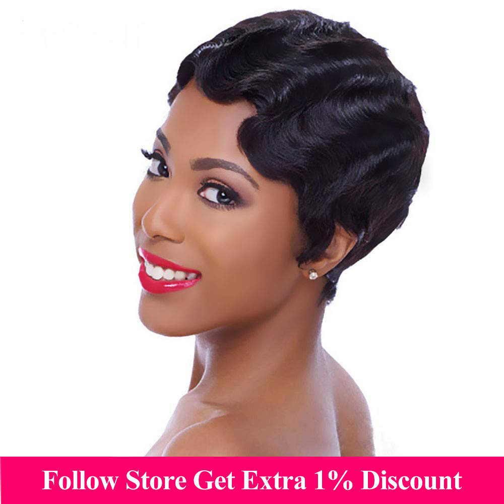 Finger Wave Short Bob Human Hair Wigs Full Machine Made Pixie Cut Wigs For Black Women Natural #27 #613 #99J Color