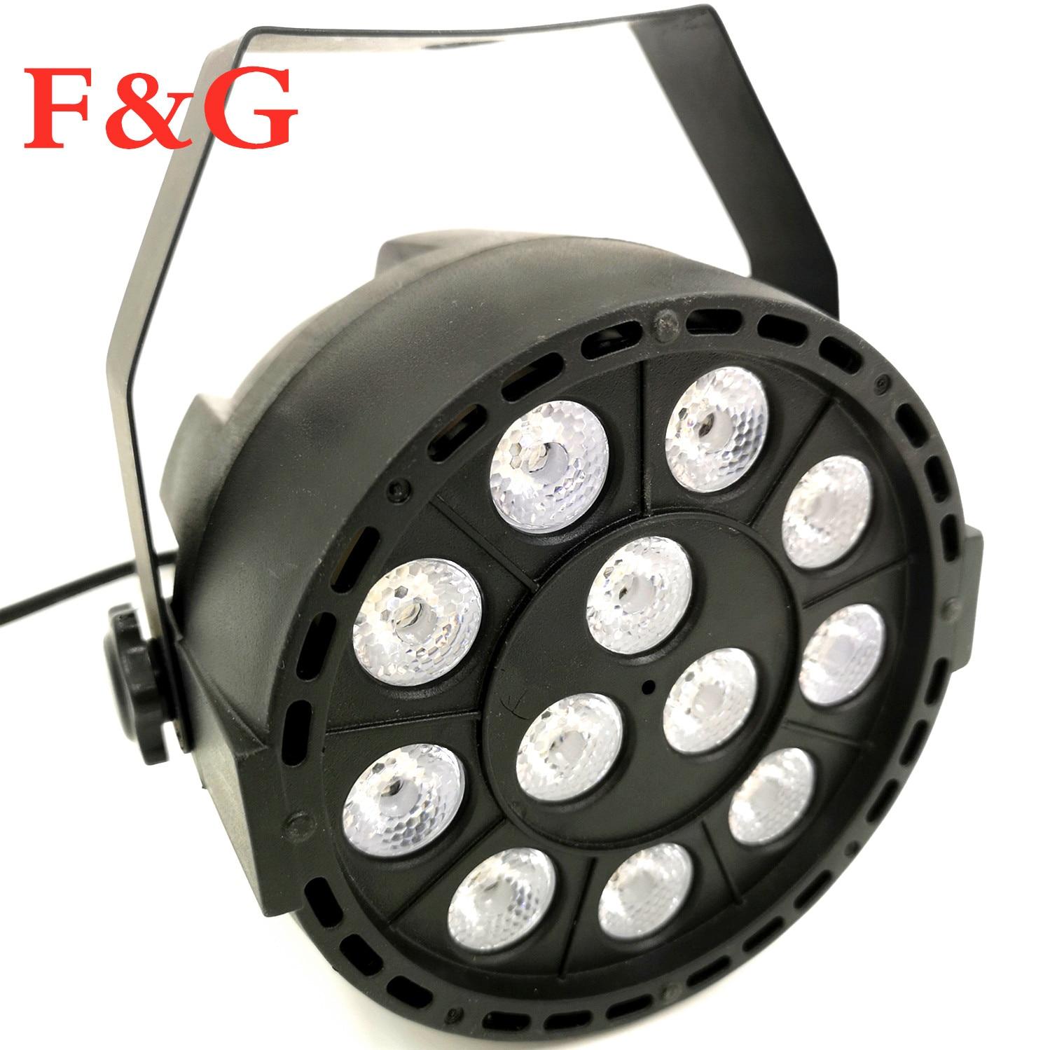 F&GLuz de escenario LED efecto 12x3W ultravioleta Color plano Par DMX512 DJ Disco lámpara KTV Bar fiesta Backlight haz proyector|Stage Lighting Effect| |  - title=