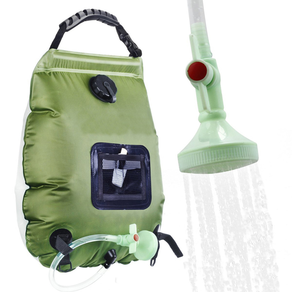 20L Water Bags Outdoor Camping Shower Bag Solar Heating Portable Folding Hiking Climbing Bath Equipment Shower Head Switchable