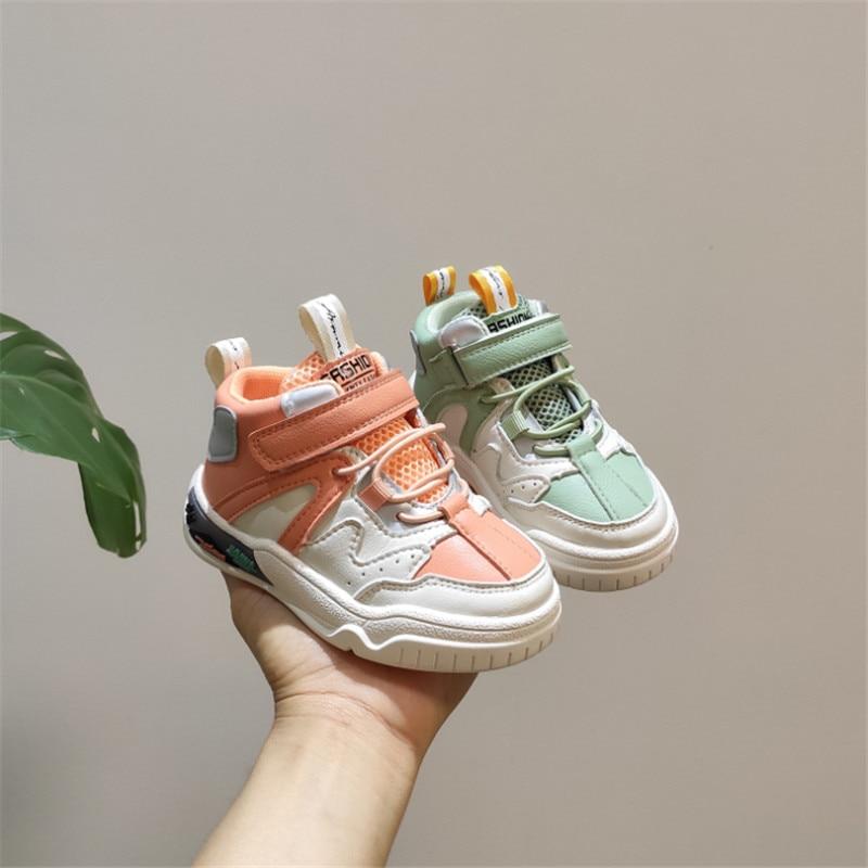 Детская обувь из натуральной кожи; Модные кроссовки с высоким берцем для мальчиков и девочек; Дышащая детская обувь; Нескользящая обувь для малышей Кроссовки      АлиЭкспресс