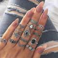 15 шт./компл., женское богемное Винтажное кольцо, набор синих колец, кольцо с кристаллом опалом, вечерние кольца #10