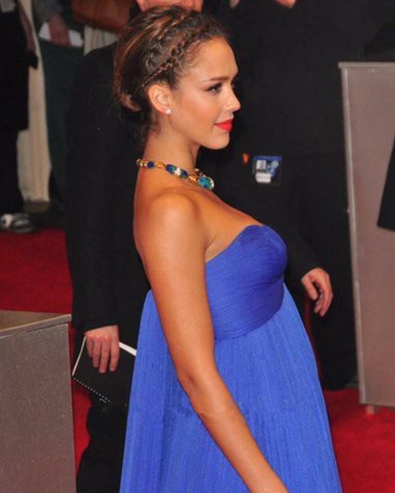 Royal bleu Empire robes de soirée de maternité chérie ruché Tulle célébrité robes de nuit formelles pour les femmes enceintes élégantes - 2