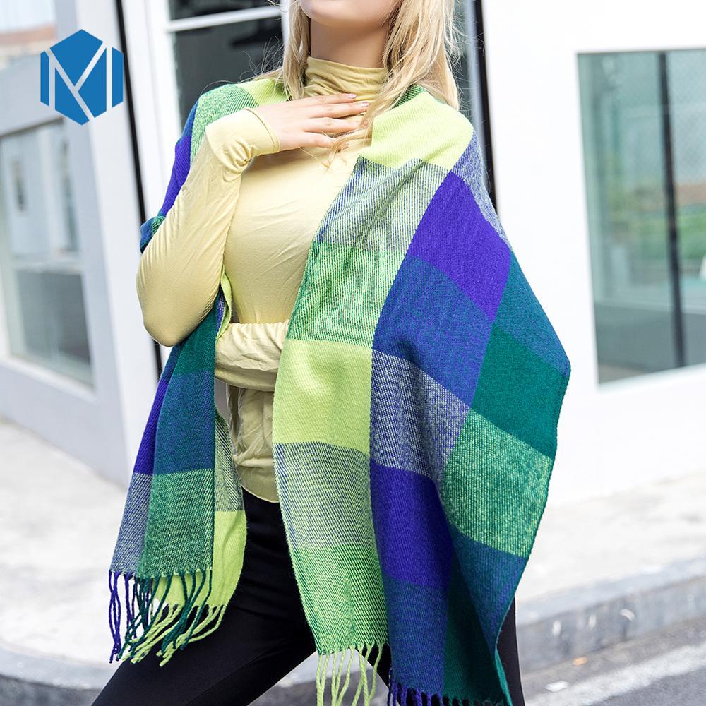 Womens Fall Winter Scarf Classic Tassel Tartan Plaid Scarf Warm Soft Wrap Shawl Scarves skull scarf