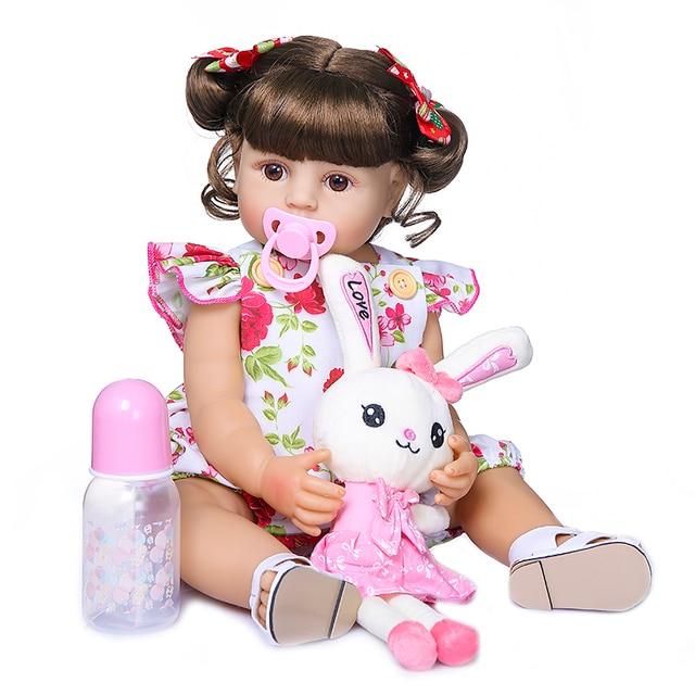Npk 55 Centimetri Bebe Bambola Reborn Ragazza Del Bambino Bambola Full Body Molle Del Silicone Reale di Tocco Bambola Della Principessa