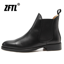 Men's Boots Knight ZFTL Chelsea Man Business-Fashion Large-Size Genuine-Leather Slip-On