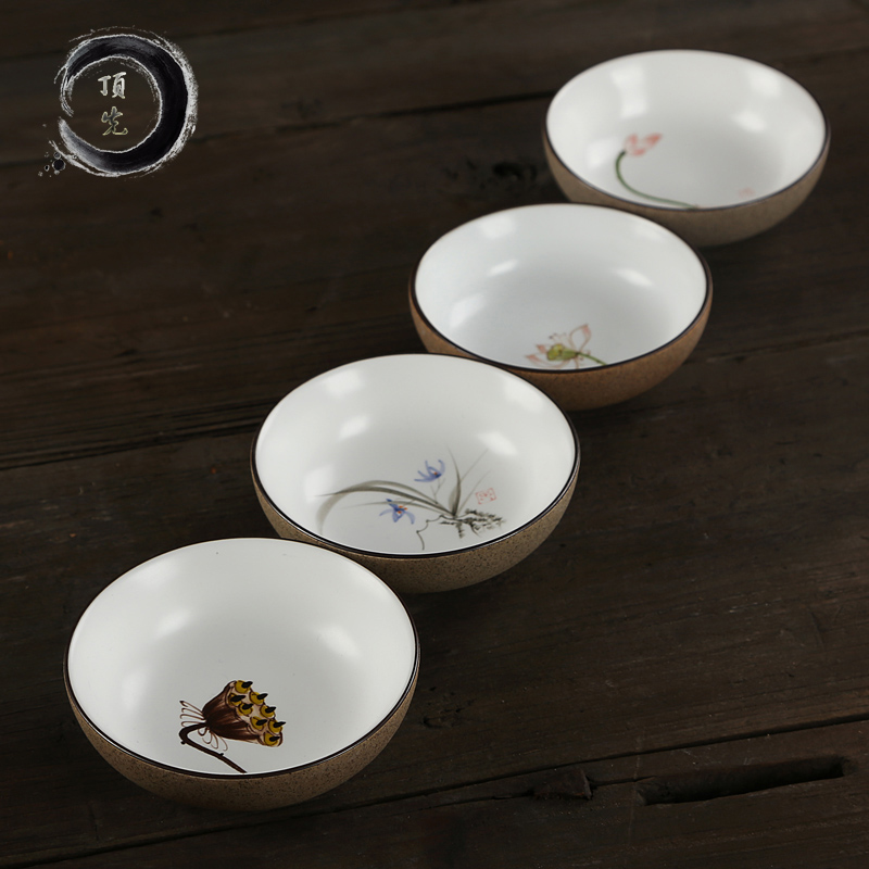 China Tea Jingdezhen Dingxian Coarse Pottery Cup Exquisite High Temperature Resistance Hand-painted Ceramic Kung Fu