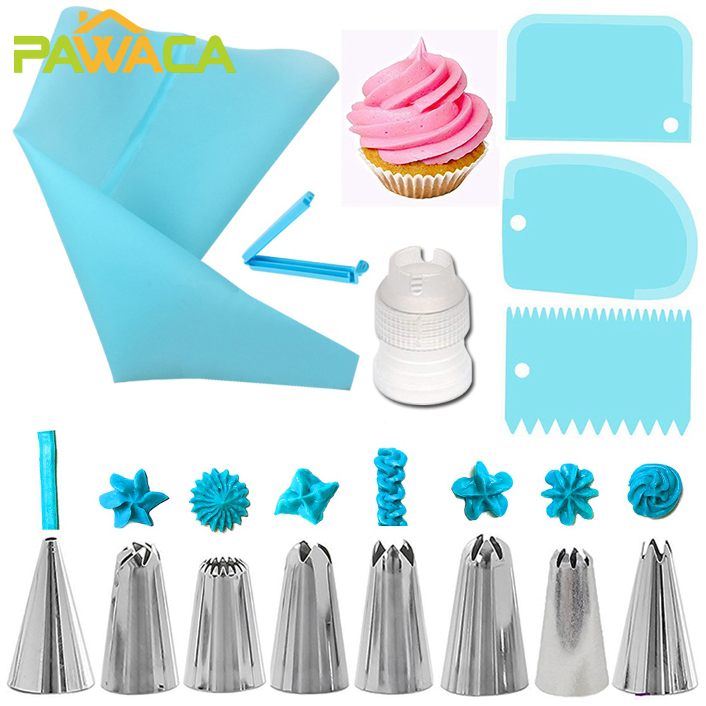 14pcs Cake Decorating Kit Piping Tips Silicone Pastry Icing Bags Nozzles Cream Scrapers Coupler Set DIY Cake Decorating Tools